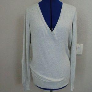 J.Crew Cotton Light Gray Size L Sweater V-NECK